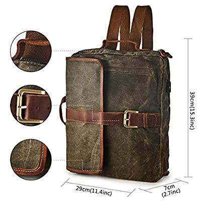 BRASS TACKS Leathercraft Men's Waxed Canvas Genuine Leather Utility Duffel Weekend Work Briefcase Messenger Bag Backpack 4-in-1 Convertible Bag