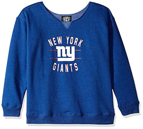 NFL New York Giants Female OTS Singleback Fleece Pullover, Royal, Medium