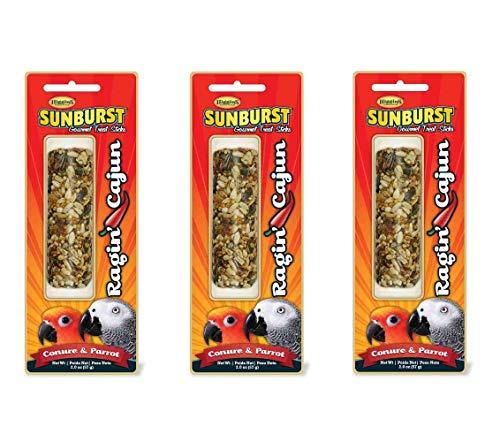 - Higgins 3 Pack of Sunburst Gourmet Treat Sticks, 3 Ounces Each, Veggie Fruit Flavor for Pet Birds (Ragin Cajun, for Conures and Parrots)