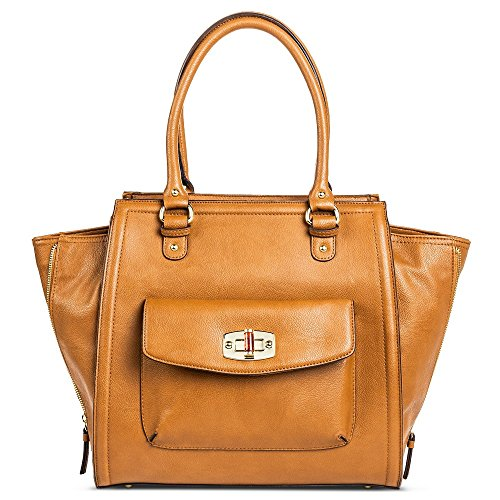 Merona Women's Solid Tote Handbag with Turnlock Pocket (Butternut)