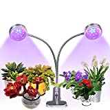 [Auto Turn On/Off] Dual Head Plant Grow Light, Upgraded Timing Function(3/6/9/12/15H),16W Flexible 360 Degree Gooseneck, 32 LED Chips with Red/Blue Spectrum, 5 Dimmable Levels for Indoor Plants