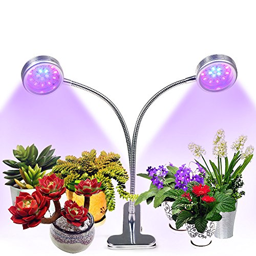 [Auto Turn On/Off] Dual Head Plant Grow Light, Upgraded Timing Function(3/6/9/12/15H),16W Flexible 360 Degree Gooseneck, 32 LED Chips with Red/Blue Spectrum, 5 Dimmable Levels for Indoor Plants by CLkj