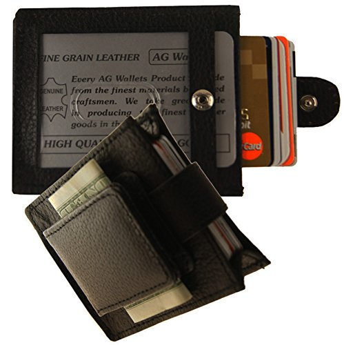 AG Wallets Leather Expandable Magnetic Money Clip With Snap Closure (Napa Leather Magnetic Money Clip)