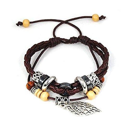 Tricess Fashion Vintage Style Leaf Pendant Pandora Beads Leather Bracelet