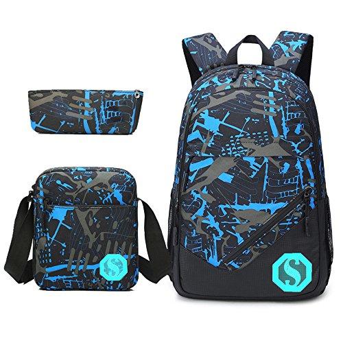 Teens Rucksack für Schule leichte Jungen Mädchen Schule Bookbag Set Travel Daypack (Schottenkaro) Graffiti zGKItq