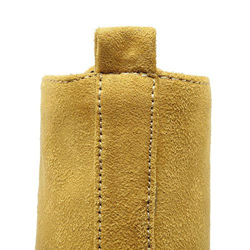 Round Imitated Toe Womens Boots Solid Yellow Heels Low top Closed AmoonyFashion Low Suede 4z5twqz