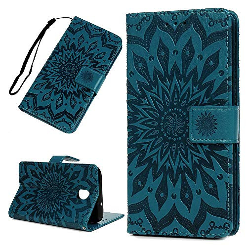 Galaxy J7 V 2nd Gen Case Floral Sunflower Wallet Case PU Leather Magnetic Flip Cover Shock Resistant Flexible Soft TPU Slim Protective Bumper Card Slots Kickstand Lanyard for Samsung Galaxy -