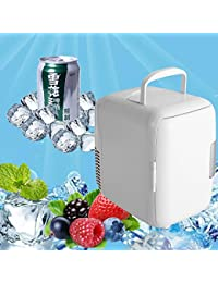 Portable 4L Electric Mini Fridge Cooler & Warmer w/Car Charger, Compact Auto Fridge Cools & Heats Includes Plugs for Home Outlet & 12V Car Charger (White)