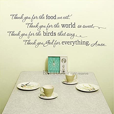 Amazoncom Elma332tuttle Amen Wall Decal Thank You For The Food We