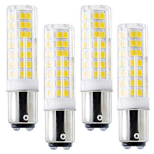 Ba15d LED Bulb, New (88LEDs), Ba15d Double Bayonet Base, 6W 120v 60W Equivalent, Dimmable Sewing Machine Lamp (Pack of 4) (BA15D White 6000K)