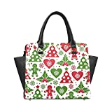 Christmas Tree and Mistletoe Women's Rivet PU leather Shoulder Bag Handbag