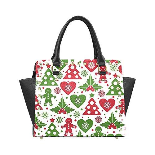 Christmas Tree and Mistletoe Women's Rivet PU leather Shoulder Bag Handbag