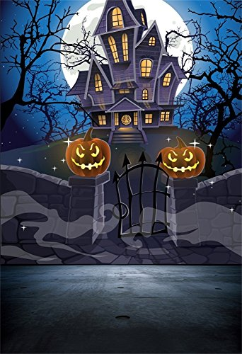 Laeacco 5x7ft Vinyl Backdrop Photography Background Happy Halloween Cozy Haunted House Stone Wall Gate Moon Night Pumpkin Latern Spooky Castle Trees Scenery Children Kids Photo Background