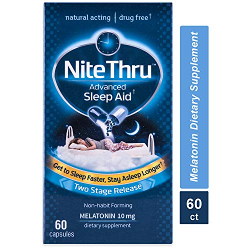 NiteThru Advanced Sleep Aid Melatonin Dietary Supplement, 60 Capsules