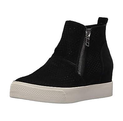 506230df36 Womens Wedge Sneakers Platform Perforated Hidden Heel High Top Ankle Booties  Black