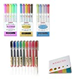 Zebra MILDLINER SPECIAL SET! (B-set)MILDLINER 3pack:WKT7-5C(5Color Set)/WKT7-5C-RC(5Color Set)/WKT7-5C-NC(5Color Set)+MUJI Gel Ink Ballpoint Pens 0.5mm 9-colors Pack 779_9+SAKURA original sticky notes
