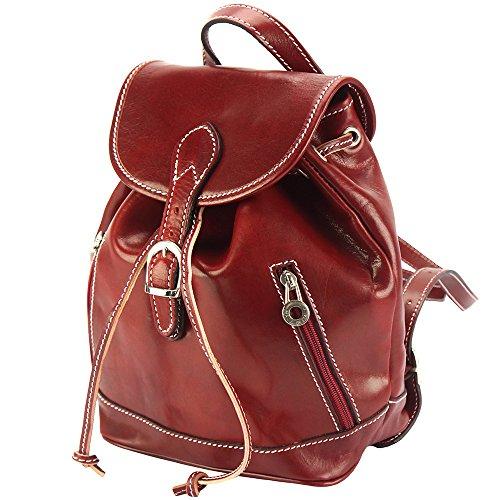 Vitello Di In Leather Zainetto Luminosa E Rosso Unisex Lucida Florence Borsa Pelle Pratico Borse Market 6559 A ORxzqR71