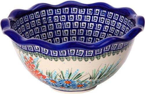 Polish Pottery Ceramika Boleslawiec 0413/169 Royal Blue Patterns with Blue Daisy and Orange Phlox Motif Bowl Fala Small, 5-3/4-Cup