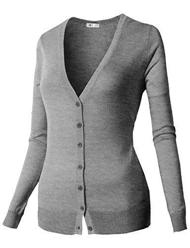 H2H Women Button Down Long Sleeve Basic Soft Knit Cardigan Sweater GRAY US S/Asia S (CWOCAL067)