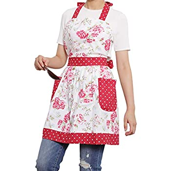 NEOVIVA Kitchen Aprons for Women with Pockets, Heavy Duty Bib Aprons for Cooking, Baking, BBQ and Gardening, Style Diana, Floral Lollipop Red
