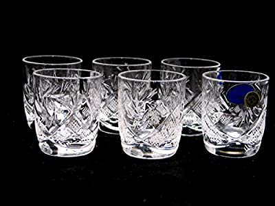 SET of 6 Russian Vintage CUT Crystal Stemless Shot Vodka Glasses 1.5 Oz / 50 ml, Old-fashioned Handmade European Crystal Gift Set
