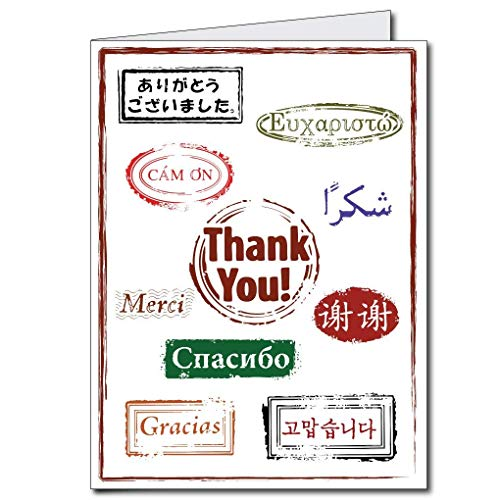 (VictoryStore Jumbo Greeting Cards: Giant Thank You Card (Thank you is lots of languages), 2' x 3' card with)