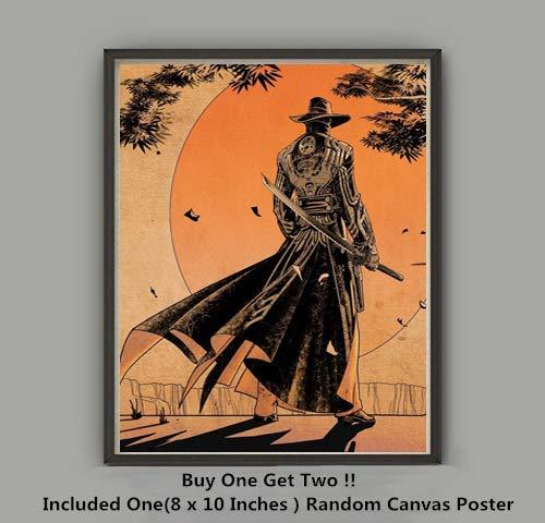 QG Art Twilight Justice Sword Samurai Ninja Master Warrior Fabric Silk Art Prints Poster,Not Included Frame