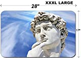 Luxlady Large Table Mat Non-Slip Natural Rubber Desk Pads IMAGE ID: 24094674 Detail close up of Michelangelo s David statue on blue sky background Fl