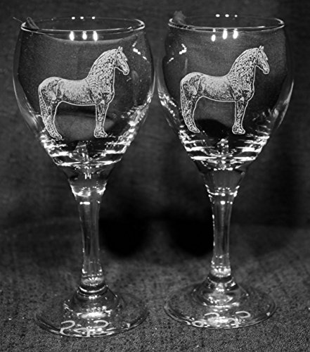 Muddy Creek Reflection Fresian Horse Laser Etched Wine Glass Set (2, TDW)