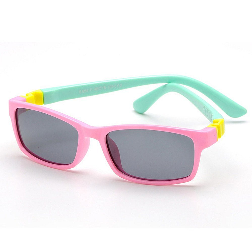 Pink Girls Polarized Sunglasses Kids Unbreakable Cute And Colorful Sunglasses