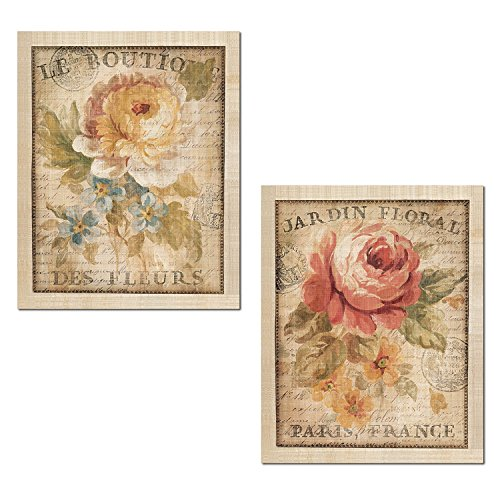 Gango Home Décor Beautiful Vintage Paris, France Floral Set by Danhui NAI; Two 11x14in Unframed Paper Posters (Border is Part of -