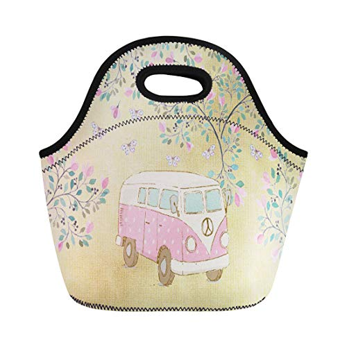 Ablitt Lunch Bags Watercolor Cute Hippy Van Butterflies and Blossom Pink Retro neoprene lunch bag lunchbox tote bag portable picnic bag cooler bag (Van Hippy)