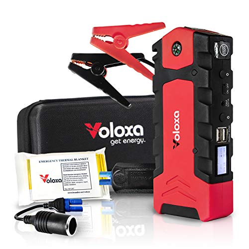 VOLOXA -NEW 2019- Super Safe Portable Car Jump Starter 15000 mAh 600A Peak, Booster Battery Charger with Smart Charging Port. Special Bonus Emergency Thermal Blanket & Cigarette Lighter Adapter (Best Jump Starter 2019)