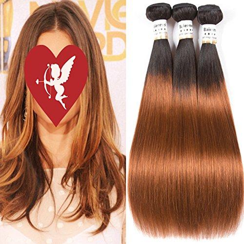 Baiermei Brazilian Ombre Straight Hair 3 Bundles Twe Tone Brown T1B/30# Human Hair Weave Bundles 100% Remy Hair Extensions - Weave Human Ombre Hair