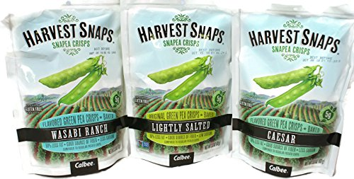 Variety Packs - Harvest Snaps Flavored Green Pea Crisps (3.3 oz) - Caesar, Lightly Salted, Wasabi Ranch