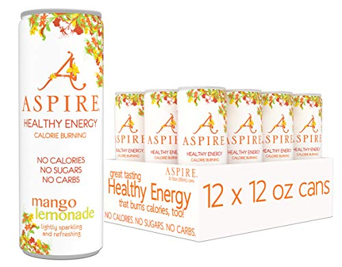 - ASPIRE Healthy Energy, Calorie Burning, Zero Calorie, Zero Sugar Drink Mango Lemonade 12-Pack
