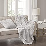 Comfort Spaces Shaggy Fur Throw Blanket - Cold Weather Sofa Bed/Couch 2 Pieces Set 50'' x 60'' Grey Extra Long Faux Fur, Shaggy Blanket Throw Matching Pillow Cover