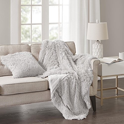 Comfort Spaces Shaggy Fur Throw Blanket - Cold Weather Sofa Bed/Couch 2 Pieces Set 50'' x 60'' Grey Extra Long Faux Fur, Shaggy Blanket Throw Matching Pillow Cover by Comfort Spaces
