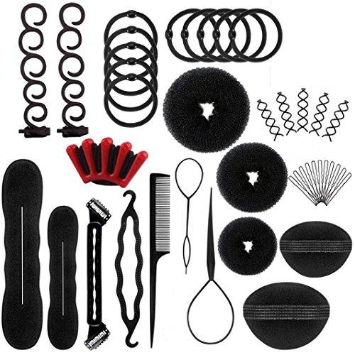 Inkach- Womens Hair Clip Kit - 50pcs Pretty Girls DIY Pads Foam Hair Styling Tools Set (Multicolor) -