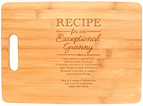 Mothers Day Gifts for Grandma Granny Recipe for an Exceptional Granny Mother Day Gifts Birthday Gifts for Grandma Unique Gifts for Grandma Big Rectangle Bamboo Cutting Board ()