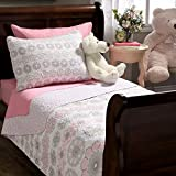 Lola Pink Floral Cotton 2 Piece Quilt and Sham Set Kids Bedding Comforter Bedspreads Twin Size