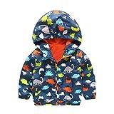 Kehen Toddler Baby Winter Dinosaur Printing Zipper Long Sleeve Hoodie Jacket Trench Coat (2T, Navy)