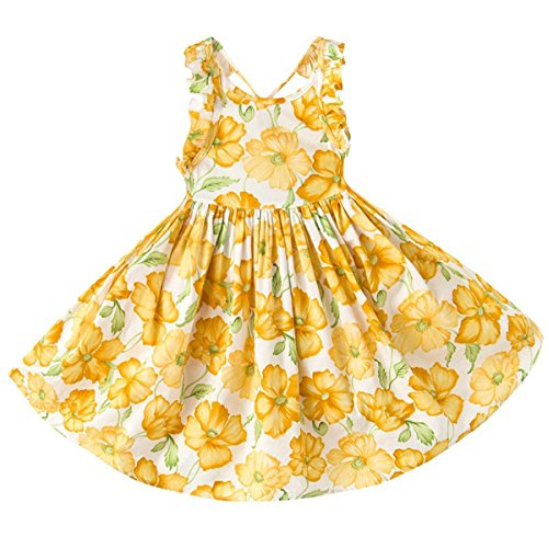 May zhang Little/Big Girls' Dress Sleeveless Cotton Dress,Girls Countryside Overalls Flower Print for Summer (Yellow, 6/7Y)