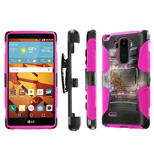 LG G Stylo [LS770 H631] Armor Case [NakedShield] [Black/Pink] Heavy Duty Armor [Holster with Kickstand] Phone Case - [Space Beginning] for LG G Stylo LS770 -  P-LGLS770-1E7-BKHP-CBT-N199