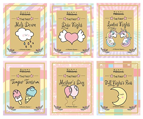 6 Unicorn Mommy Milestone Wine Labels or sticker Gifts, New Mom Gifts Ideas, Baby