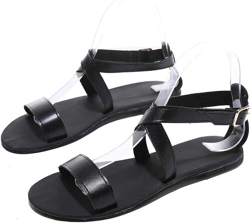 Fineser Women Beach Flat Sandals Womens Elastic Flat Sandals Summer Casual Shoes Criss-Cross Open Toe Wide Strap Shoes