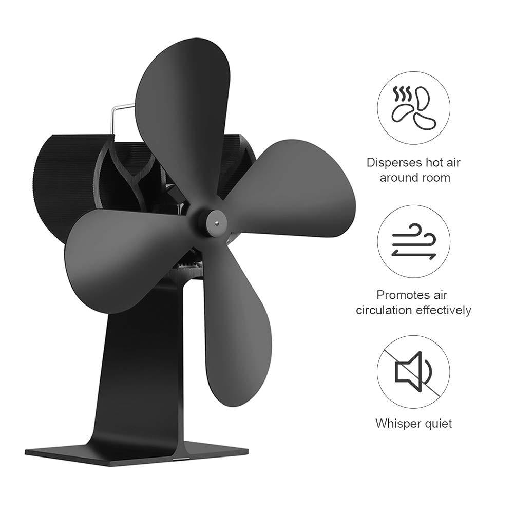 Kaneed XL BLFS-001 4-Blade Aluminum Heat Powered Ultra Quiet Fireplace Stove Fan(Black)