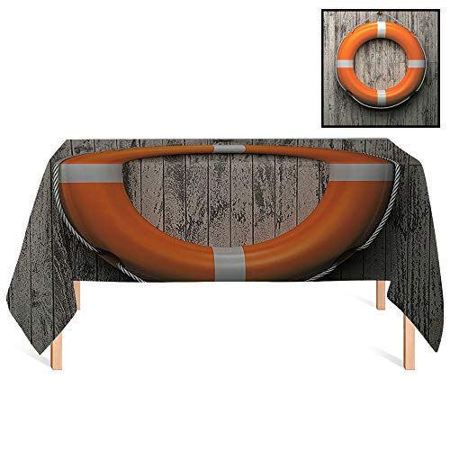 - SATVSHOP Spill Proof Tablecloth,/60x120 Rectangular,Buoy Lifebuoy Attached to A Wooden Wall Hardwood Grunge Rustic Aged Look.for Wedding/Banquet/Restaurant.