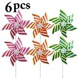 Funpa 6PCS Kids Pinwheel Party Wind Spinner Fashionable Stripe Pattern Pinwheel for Garden Decor