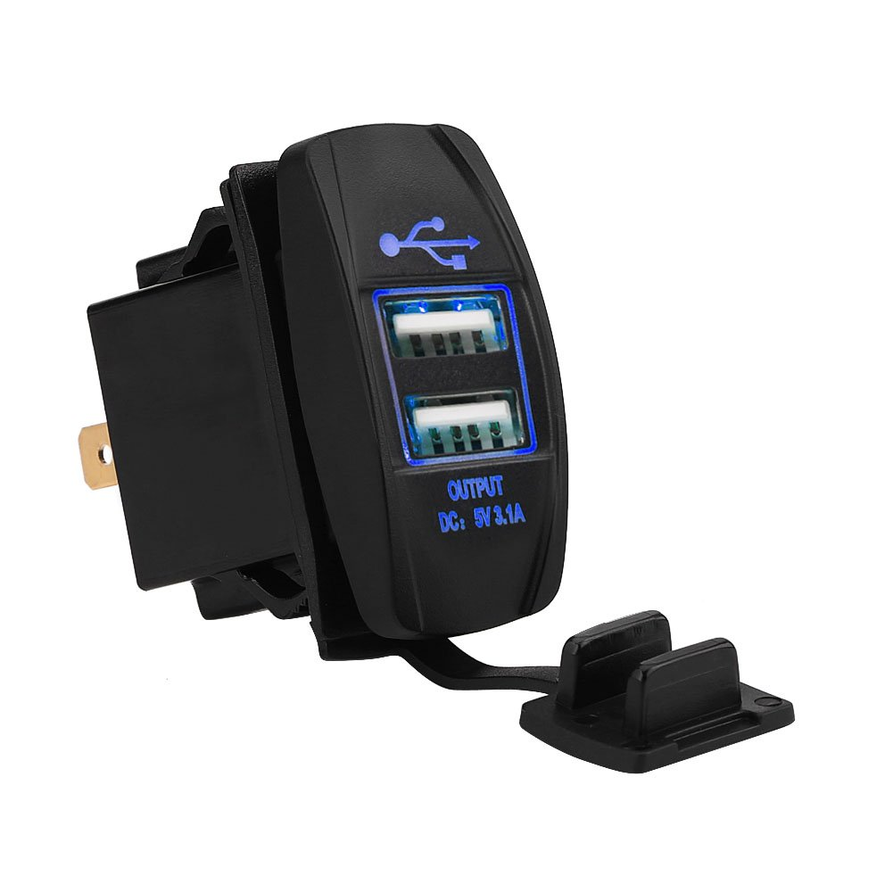 12-24V 3.1A Dual USB Ladeger/ät Steckdose f/ür Auto Motorrad Wohnmobil Fahrzeuge GPS Blau
